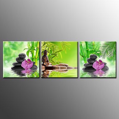 Modern CANVAS PRINT Poster Buddha and Stone Picture Wall Art for Home Decor-3pcs