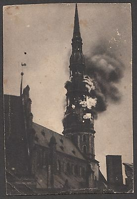 St. Peters Church In Riga, Latvia. B & W Photo P.c. Bell Tower On Fire. Un-Used