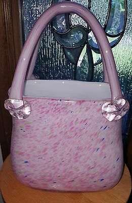 Murano style Glass Tall Pink / Blue Speckled Woman's Purse Shaped Vase w/Handles