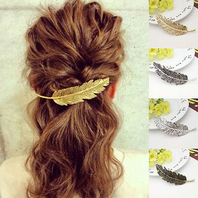 Women Leaf Feather Hair Clip Slide Jewellery Accessories Boho Gold/Silver UK