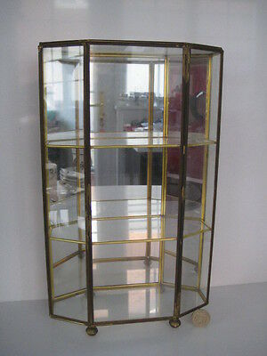 Large Mirrored Brass Glass Curio Miniatures Display Case Cabinet Shelf Thimble