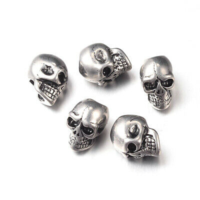5PCS Retro Skull 304 Stainless Steel European Large Hole Beads Antique Silver