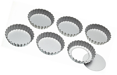 KitchenCraft Stainless Steel Fluted Tartlet Tins with Loose Bases (Set of 6)