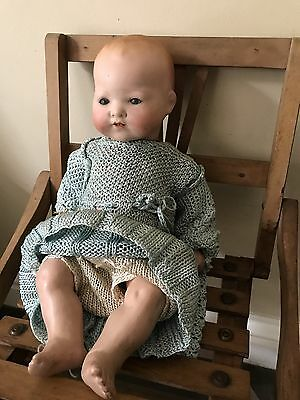German Armand Marseille Doll 351 In A Crocheted Outfit