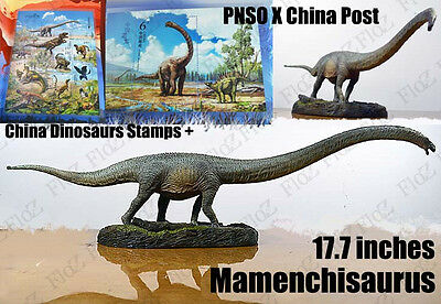 "PNSO X China Post 17"" Mamenchisaurus Dinosaurs figure model w/ limited stamps"