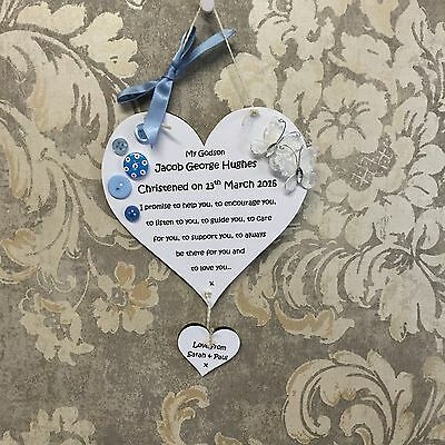 christening baptism godson godchild gift personalised heart wall hanging plaque
