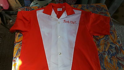 RARE CHEMISE BOWLING 50's BRODER ROUGE ET BLANCHE TAILLE M M. USA T B E