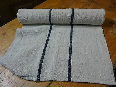 A Homespun Linen Hemp/Flax Yardage Blue Stripes  4 Yards x 21''   # 8427