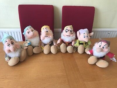Disney Store Snow White & The Seven Dwarfs Set Of 6 Dwarfs Plush Soft Toys