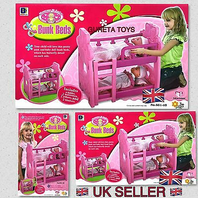 Pink Double Dolls Baby Bunk Bed Toy With Pillow Mattress Blankets
