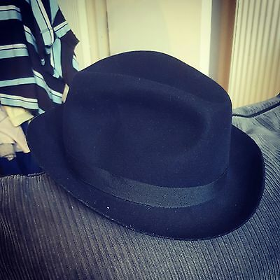 Vintage Dark Blue Trilby Fedora by Dunn and Co