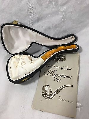Vintage Beautiful Nude Naked Lady Design Meerschaum Pipe Hand Carved With Case