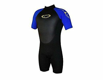 Mens Shortie Wetsuit 2.5mm, Blk/Blu LARGE 40/42 Chest