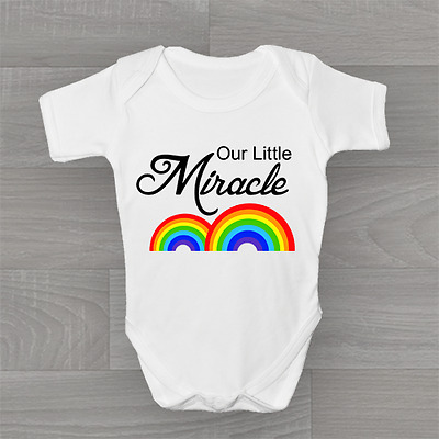 Our Little Miracle Baby, Rainbow, Cute Unisex Baby Grow Bodysuit Vest, Baby Gift