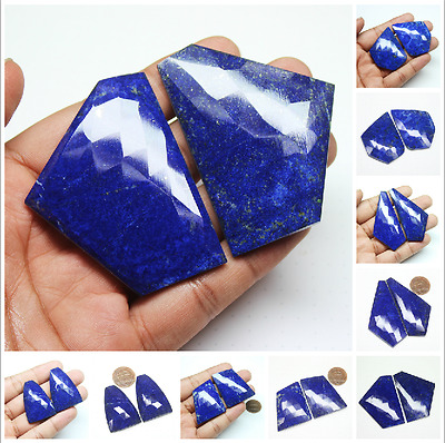 Royal Blue Lapis Lazuli Checker Matching Pair Loose Gemstone Large Size