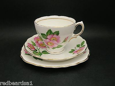 Royal Vale Pink Briar Rose Vintage China Trio Tea Cup Saucer Plate England 1960s