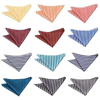 Premium Woven Jacquard Thin Stripe Wedding Handkerchief Pocket Square Hanky