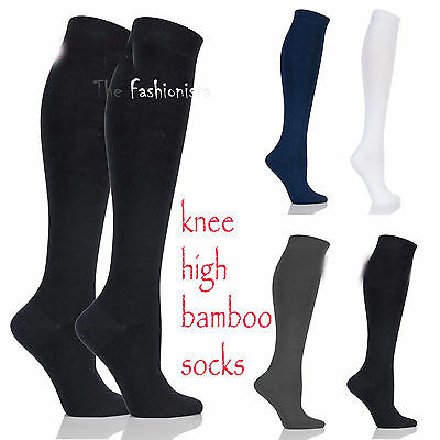 2 Pairs Womens Girls Plain Fashion Bamboo Knee High Kids School Socks All Size