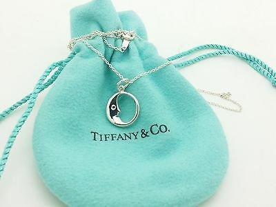 Tiffany & Co. Sterling Silver Man in the Moon Pendant Necklace  Chain 16