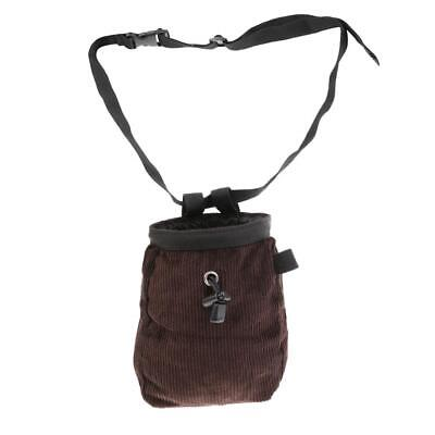 Durable Chalk Bag with Waist Belt for Rock Climbing Lifting - Coffee Color