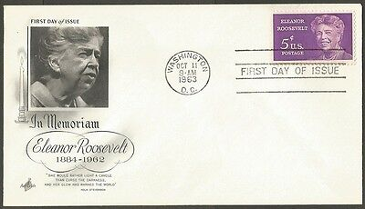 Us Fdc 1963 Eleanor Roosevelt 5C Stamp In Memoriam First Day Of Issue Cover