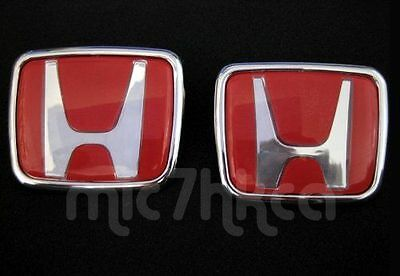 2x Red Type-R style Honda hood boot badge emblem 65x55mm & 74x62mm (UK stock)