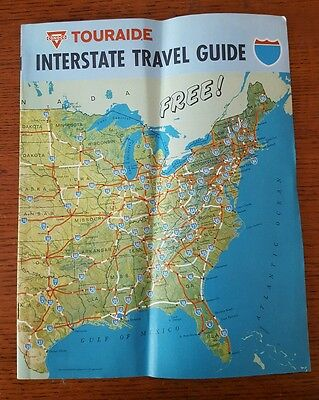 Vintage 1968 Conoco Touraide INTERSTATE TRAVEL GUIDE Gas Station Road Map 8X11