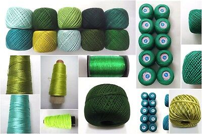 Green Thread Yarn Crochet Embroidery Knitting Lace Trim Viscose Cotton Rayon