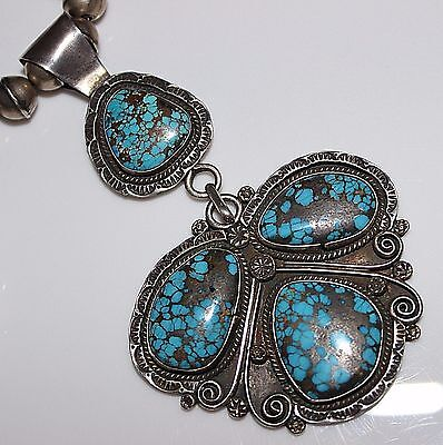 SUPERB Navajo Sterling Spider Web Turquoise Signed Pendant Bench Bead Necklace