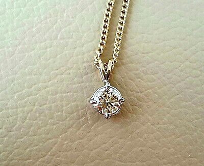 9ct gold single stone diamond pendant 0.77ct