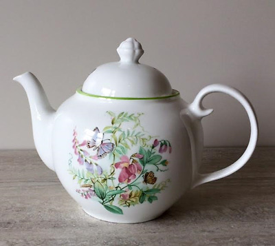 Wade Royal Victoria China Teapot with a Floral and Butterfly Design