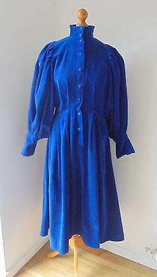 Droopy and Browns By Angela Holmes Dress UK 12/14 Corduroy Blue Dress