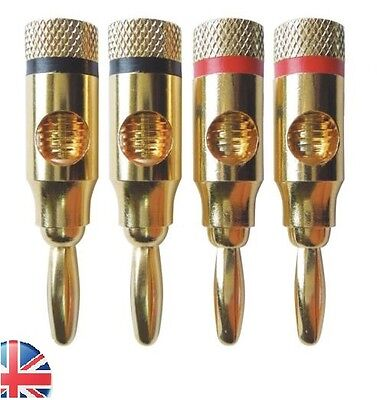 4pcs Gold Plated 4mm Banana Plugs Speaker Audio Connector Wire Cable