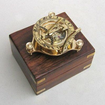 Sundial Compass Nautical Maritime Vintage Pocket Watch Brass Decor Antique