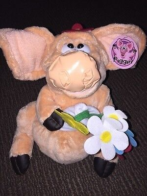 Collectable Piggin Pig Soft Plush Toy - Flowers  - Tagged 1991 VGC 10""