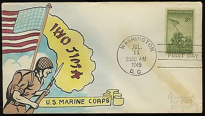 "US, #929  -  RARE HANDPAINTED WEIGAND First Day Cover CACHET ""IWO JIMA"""