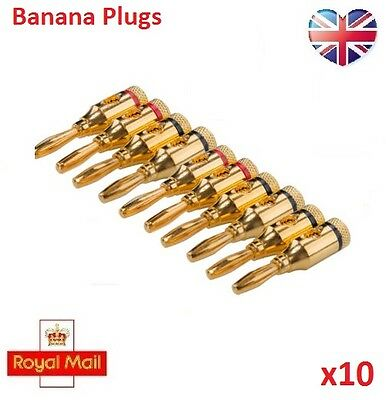 10pcs Gold Plated 4mm Banana Plugs Speaker Audio Connector Wire Cable