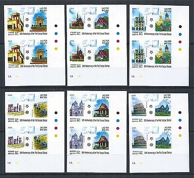 Laos 2005 Set Imperf + Perf Pairs Anniv. First Europa Stamps Architektur 2 Scan