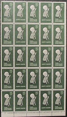 1962 Canada Easter Seals, Full Mnh Sheet Of 25