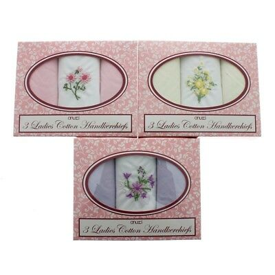 Ladies Handkerchiefs Hankies Pack Of 3 In Presentation Gift Idea