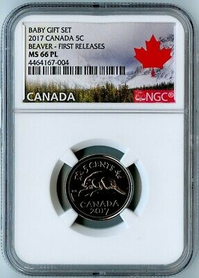 2017 Canada Ngc First Releases Ms66 Pl Baby Gift Set-Beaver 5 Cents 5C!
