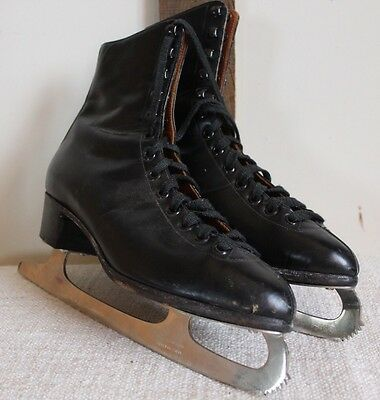 FAGAN BLACK LEATHER ICE SKATES SIZE UK 6  Men's Woman's Free Postage