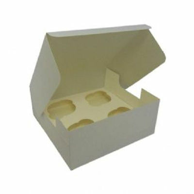 4 Cup Cupcake Square 'Pop up' Cake box with insert - white