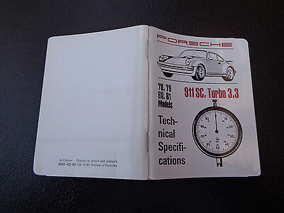 1991 Porsche 911 SC, Turbo 3.3 Pocket Book Technical Specifications