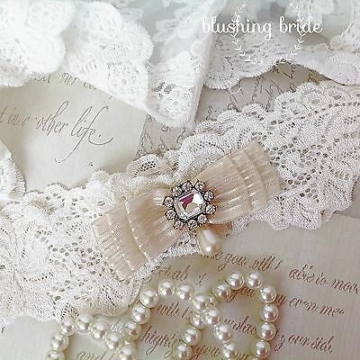Simply Beautiful Luxury Ivory Lace Bridal Garter, Vintage Styled Button, Wedding