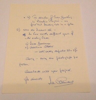 Ian Carmichael   -  Comedy   Signed - Handwritten Letter -  Authentic Uacc
