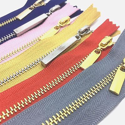 Metal Polished Gold and Silver Teeth No 3 Zips - Closed End - 8 Zip Colours
