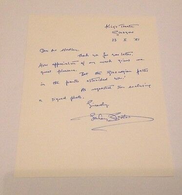 Stanley Baxter   -  Comedy  Signed - Handwritten Letter -  Authentic Uacc