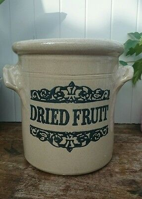 Vintage Large Stoneware Dried Fruit Storage Jar Pot by Moira