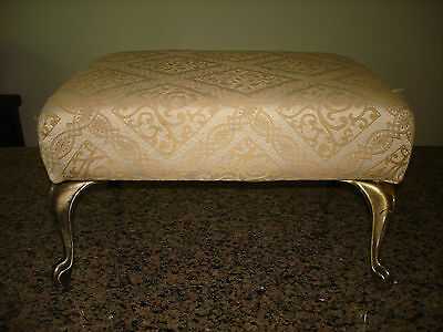 Vintage Beige Metal foot Small Footstool With Upholstered Seat